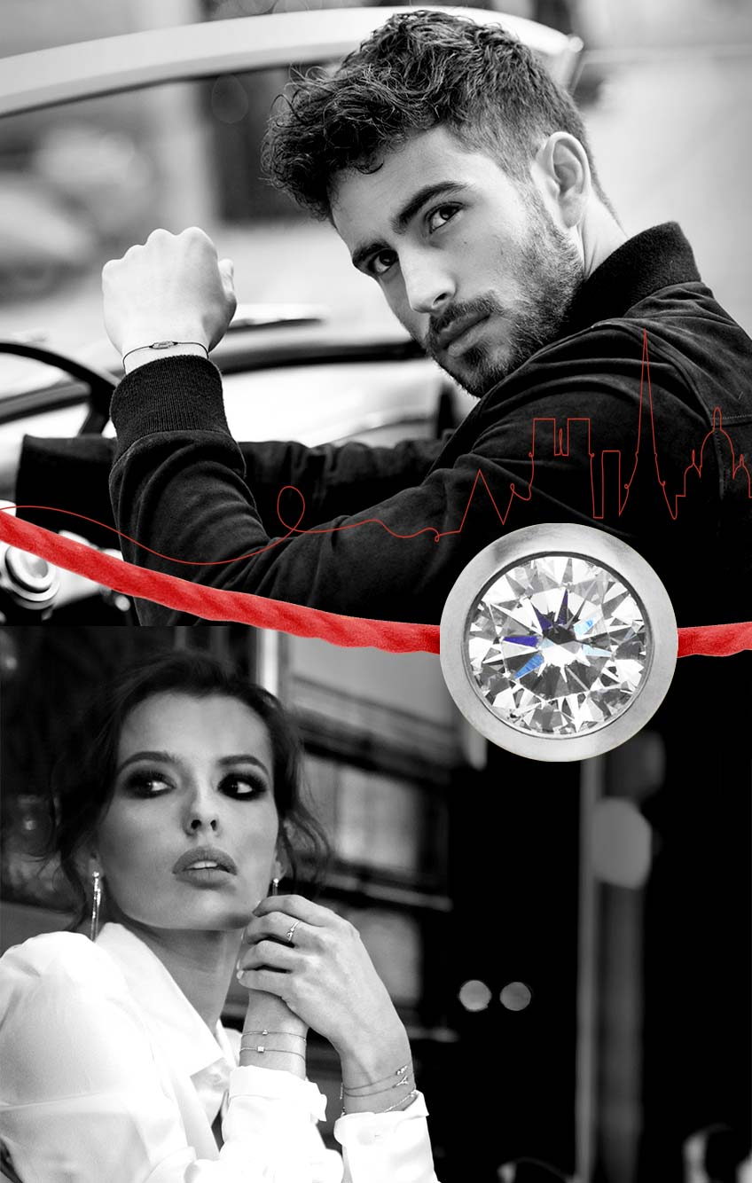 bracelet fil rouge diamant