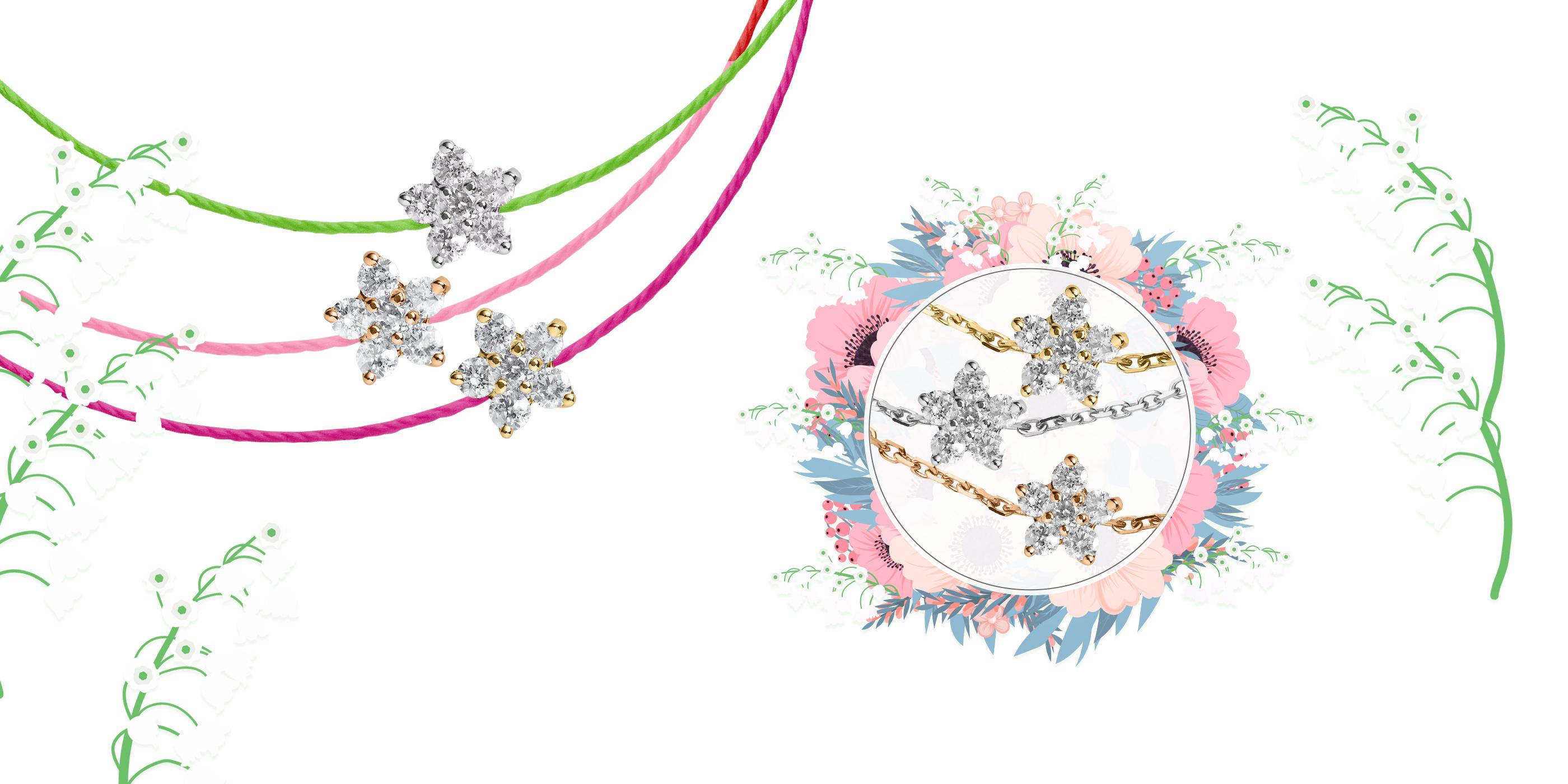 bracelet diamant fleur or blanc or jaune or rose